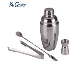 4 Stuk/set 350 ml DIY Cocktail Shaker Set Onskop Ijs Tang Cocktailshaker Menglepel Keuken Bar Accessoires KHGDNOR