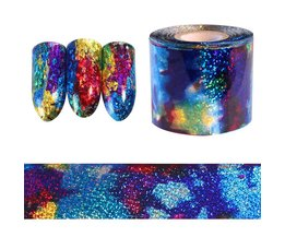 1 M Gradiënt Sterrenhemel Nail Folie Blue Holografische Papier Decals Decor Nail Art Sticker Decoratie Accessoires Born Pretty