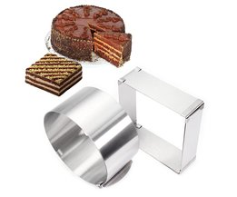 Rvs Verstelbare Cake Mousse Ring set van 2, ronde & Vierkante Cakevorm