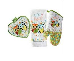 3 stks/set europa katoen ovenwant mooie uil printing Isolatie bakken handschoenen handdoek mat set textiel keuken supply MyXL