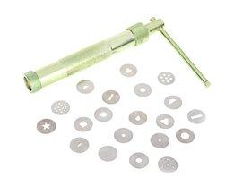 Zoetwaren Tool Bakken Tools Voor Gebak Klei Fimo Extruder Craft Gun 20 Tips Sugarcraft Decoratie Tool Met Groene Kleur tangchu