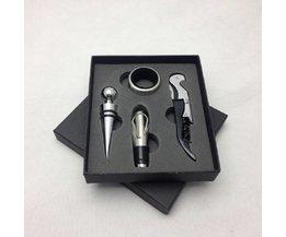 4 Stks/set Wijn Opener Tool Set wijn corkscrew Flesopener Stopper Schenker Keuken, Eetkamer bar Accessoires gift Roestvrij staal