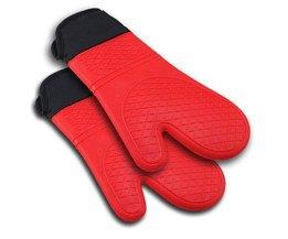 Bestselling 2 stks Rode Siliconen Keuken Ovenwant Handschoen Pannenlap met Extra Lange Canvas Mouw Stiksels voor Grillen en BBQ SSGP