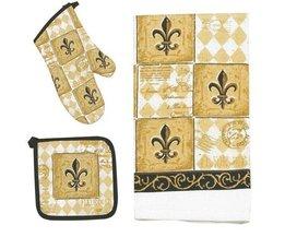 3 Stuk Majestic Fleur De Lis Keuken Set-Handdoeken, Ovenwant, Potholder 100% katoen