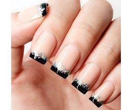 Elegante 24 stks/set vlees kleur + zwart franse glitter afgewerkt kunstnagels. Midden-lange size lady volledige nail tips Patch art tool ALLMEDURE