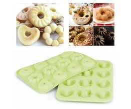 1 st 12 holtes mini donut donut silicone mold flower ronde hartvormige cake chocolade fondant mold diy bakken tool MyXL