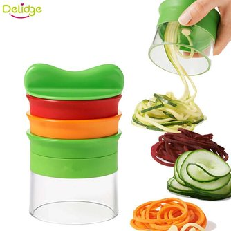 Delidge 1 st 3 In 1 Multifunctionele Groente Spiraal Raspen Plastic + Rvs Fruit Slicer Shredders Dunschiller Wortel Kitchenwa delidge