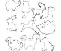 10 stks Biscuit Mallen voor Cookies Druk Cutters Set in Dier Vormen Hond, Olifant, Konijn Paard Bakkerij Modellering gereedschap voor Keuken