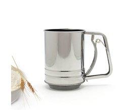 Bakken meel hand fijne mesh filter screen dubbele cup type 304 rvs 550 ml MyXL