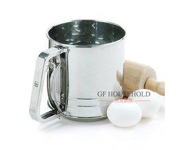 Grote bakken meel cup poedersuiker zeef hand fijne rvs dubbele scherm 1000 ml MyXL