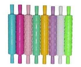 8 stks/set Kleurrijke Plastic Reliëf Geweven Gedessineerde Fondant Rolling Pins Cake decorating Bakken Tools BEIGUAN