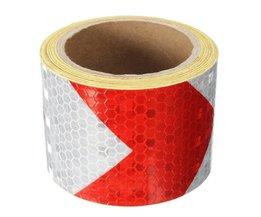 """2 """"X10' 3 Meters Rood Wit Pijlen Reflecterende Waarschuwing Conspicuity Tape Film StickerAankomst Safurance"""