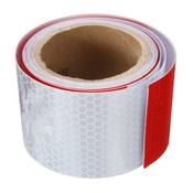 "2 ""X10' 3 Meters Wit rood Reflecterende Veiligheidswaarschuwing Conspicuity Tape Film StickerAankomst Safurance"