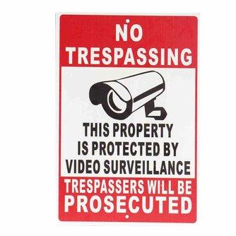 Verboden toegang Eigendom Beschermd Door Video Surveillance Veiligheid Camera Metalen Teken Safurance