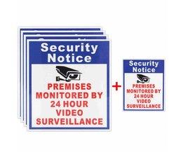 5x Lokalen Beschermd Door 24 Uur Video Surveillance Sign Sticker Bewakingscamera Safurance