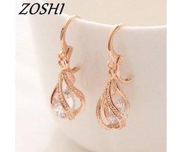 Zoshi mode goud kleur oorbellen voor vrouwen lange dangle earing ronde witte crystal earring cz zirkoon bruiloft sieraden ZOSHI
