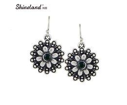 Shineland Bloem Oorbellen Voor VrouwenVintage Antiek Zilver Kleur Gesneden Crystal Drop Verklaring Oorbellen Sieraden shineland