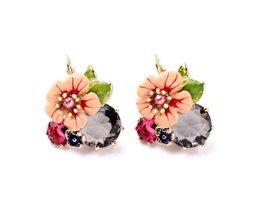 MS Mode Grote Pak Joker Emaille Bloemen Kleur Focus Piercing Oorbellen Fabriek Groothandel kissme