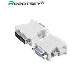 dvi-i 24 + 5 man hd 15 pin vga svga vrouwelijke video monitor lcd converter adapter dvi naar vga converter Robotsky