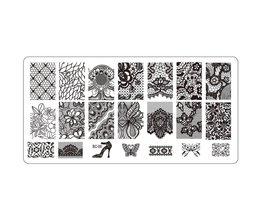 1 stksSexy Kant Nail Art Stempel Stempelen Afbeelding Platen 6*12 CM Rvs Nail Template Stencil Beauty Tools LABC09 STZ