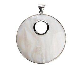 1 ST 61x80mm Zilver Kleur Grote Ronde Witte Natuurlijke Parelmoer Shell Hanger Charm voor DIY ketting Sieraden Maken Accessoires Xinyao