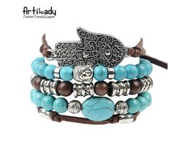 hamsahand 5 stks set lederen armbanden boho blauwe steen armband set voor verklaring vrouwen sieraden party Artilady