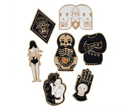 7 stks/set Harde emaille pins Goth punk schedel broche revers pin Halloween pin knop badges Sieraden voor hem Cool QIHE JEWELRY
