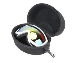 Draagbare EVA Ski Goggle Bril Protector Case Glazen Doos Zonnebril Rits Opbergtas met Gesp Haak Zwart 20x11.5x11 cm ROBESBON