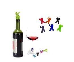 Creatieve Vorm Kleine Drunkard Siliconen Wijn Flessenstop Met Zes Wijnglas Marker Grappige Cup Marker Wijn Accessoires Arsmundi