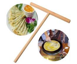 Practial T Vorm Crêpe Maker Pancake Batter Houten Strooier Stok Thuis Keuken Tool Kit DIY Gebruik 1 st LINSBAYWU