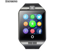 Q18 Passometer Smart horloge met Touchscreen camera tf Bluetooth smartwatch voor Android IOS Telefoon SENBONO