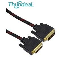 Hoge Snelheid DVI naar DVI Kabel 1.4 m 2.8 m 4.8 m DVI-D 24 1 pin Mannelijk naar M/M Signaal vergulde Magnetische Ring dubbele ferrietkernen thundeal