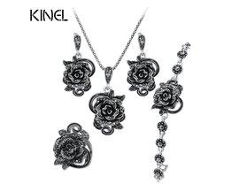 Rozen Sieraden Set Voor Vrouwen Antiek Zilver Kleur Wedding Ring En Ketting Oorbellen Armband 4 stks Vintage Sieraden Sets kinel