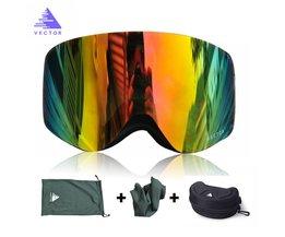 Skibril Met Case Dubbele Lens UV400 anti-condens Skiën Eyewear Sneeuw Bril Skiën Mannen Vrouwen Snowboard Goggles VECTOR