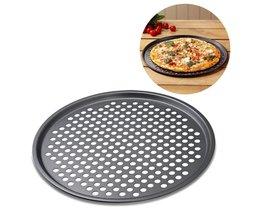 Carbon Staal Anti-aanbak Pizza Bakken Pan Tray 32 cm Pizza Plaat Gerechten Houder Bakvormen Thuis Keuken Bakken Tools Accessoires V587