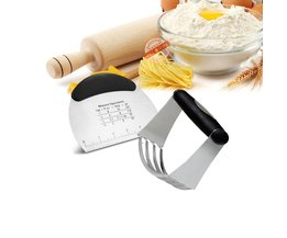 2 Gebak Gereedschap set, Rvs Pastry Cutter, gebak Schraper & Chopper Professionele Bakken Deeg Blender Leeseph