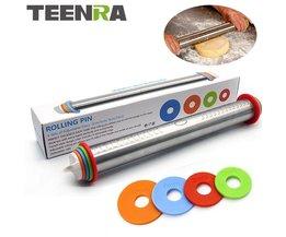 1 Stks 44 cm Lengte Verstelbare Deegroller Rvs Fondant Deegroller Cake Roller Deeg Deegrol Bakvormen gereedschap TEENRA