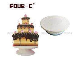 Plastic taart draaiende draaitafel taart decoreren stand fondant cake DIY gereedschap Revolving Cake Stand FOUR-C