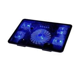 """Laptop Koeler Pad 14 """"15.6"""" 17 """"met 5 fans 2 Usb-poort slide-proof stand Notebook Koelventilator met licht Rii"""