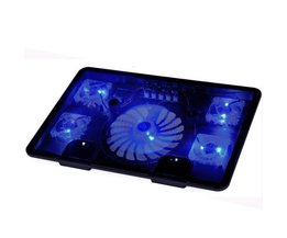 "Externe Laptop Cooler cooling Pad 14 ""15.6"" 17 ""met 5 fans 2 Usb-poort slide-proof Notebook stand lade met led licht repairist"