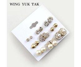 9 Paren/set Oorbellen FashionShiny Gold Kleur Hart & Crystal & Pearl & Bloemen Oorbellen Leuke Earring Sets voor Vrouwen wing yuk tak