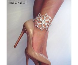 Mecresh Zilver Kleur Crystal Armbanden voor Vrouwen Bloemen Bridal Enkel Armbanden & Bangles Bruiloft Engagement Sieraden SL009 mecresh