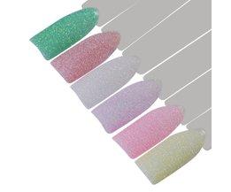 6 Stks Snoep Kleuren 1g Holografische Suiker Nail Glitter Poeder Kleurrijke Sandy Zomer Nail Art Pigment Decoratie <br />  MyXL
