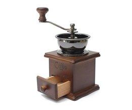 1 STKS Retro ontwerp Mini Manual Coffee Mill Wood Stand Bowl Antieke Hand Koffieboon Grind als<br />  MyXL