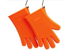 Lumiparty 1 paar thicken hittebestendige siliconen handschoenen koken bakken bbq pannenlap magnetron ovenwanten keuken orange <br />  LumiParty