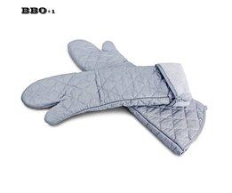 2 stks 23 inch 59 cm Lange Katoen Ovenwanten Hittebestendige Ovenwanten Lange Keuken Handschoen Bakken BBQ koken Handschoenen Gebruiksvoorwerpen <br />  MyXL