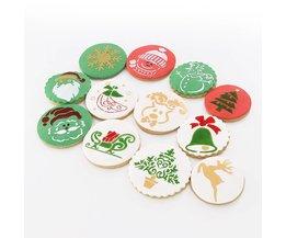 12 stks/partij Kerstversiering Cookie Mold Fondant Decorating Stencil Cookie Stencil Set <br />  YO