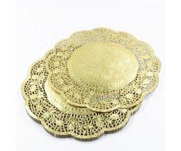 (100 stuks/pak) mooie 11.5 inches goud gekleurde ronde paper lace kleedjes cupcake brood placemats diy bakvormen cake tools <br />  LoBake