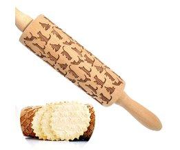 Cat Patroon Houten Deegroller Laser Embossing Koekjes Bakken Noodle Biscuit Pin Cake Roller Keuken Koken Tool Accessoires <br />  SOLEDI