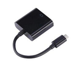 USB3.1 Type C naar VGA Adapter Kabel USB-C Mannelijke Naar-vga Vrouwelijke Video Transfer Converter 1080 P voor Macbook 12 Inch <br />  VBESTLIFE